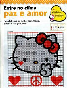 Hello Kitty x-stitch Hello Kitty Crochet, Estilo Hippie, C2c, Cross Stitch Charts, Kandi, Perler Beads, Cross Stitching, Projects To Try, Embroidery