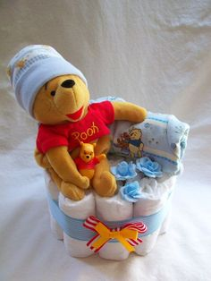 Baby Boy Diaper cake One Tier Diaper Cake made to order