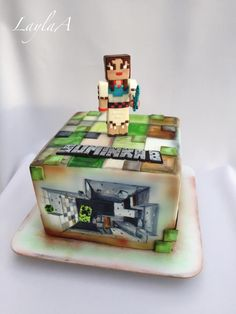Hand painted Minecraft cake for girl with her favorite character/skin girl from the game Bolo Minecraft, Minecraft Birthday Cake, Birthday Cakes, Types Of Video Games, Painting Minecraft, Painted Cakes, Girls Hand, Girl Cakes, Cake Ideas