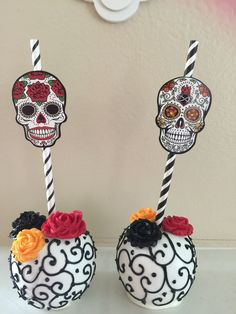 Halloween themed chocolate dipped apples