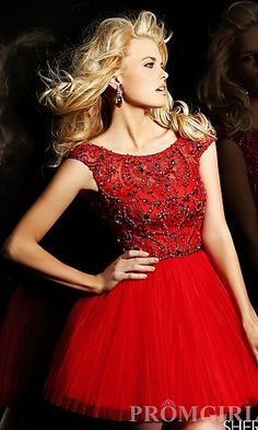 Short Pleated Skirt Party Dress by Sherri Hill 2814 at PromGirl.com #fav