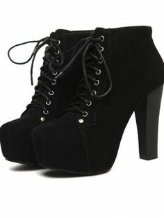 Women Fashion Faux Suede Lace up Chunky Heel Boots