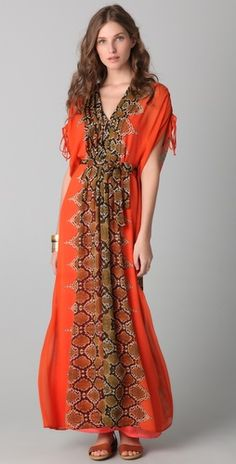 Twelfth St. by Cynthia Vincent    Pleated Maxi Caftan Dress