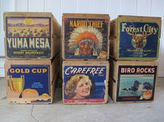 Vintage Reclaimed Wood Fruit Crates with Original Art Work Labels by PortlandiaRevibe on Etsy