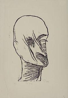 LUDVIG EIKAAS JØLSTER 1920 - OSLO 2010  Selvportrett, 1988 Tresnitt, E.T. 51x28 cm Signert nede til høyre: Eikaas