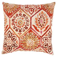 Cotton pillow with a floral honeycomb motif. Made in the USA.   Product: PillowConstruction Material: 100% Cotton...