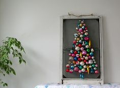 Christmas tree made of vintage ornaments