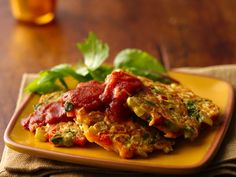 Veggie Pancakes - carrots, celery, red bell pepper, onions and spinach - Great way to help get your 5 - a - day!