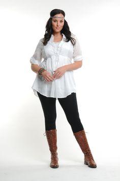 White boho tunic black leggings brown riding boots