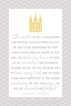 I love this quote from Pres Monson! #monson #quote #temple