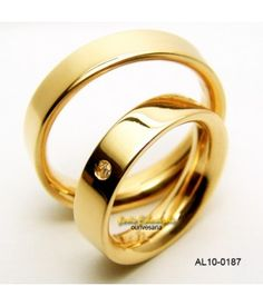 Alianças de casamento tradicional, diamante de 5 pontos AL10-0187