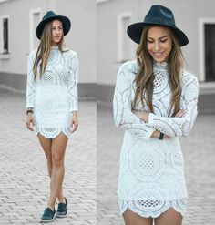 Sheinside Lace Dress, Steve Madden Leather Slip Ons