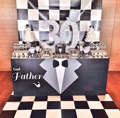 Male 30th birthday party idea Black and white party