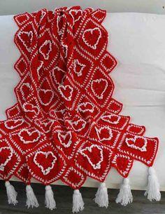 Ruffled Hearts Afghan Crochet Pattern