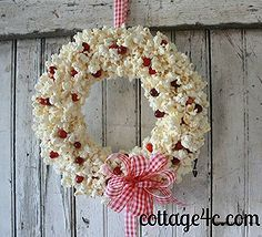 popcorn and cranberry wreath, crafts, seasonal holiday d cor, wreaths