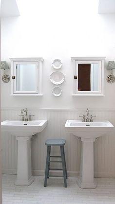 Pedestal Sinks - Design photos, ideas and inspiration. Amazing gallery of interior design and decorating ideas of Pedestal Sinks in bathrooms by elite interior designers. Bathroom Renos, Small Bathroom, Master Bathroom, Bathroom Ideas, Wainscoting Bathroom, 1930s Bathroom, White Bathrooms, Downstairs Bathroom, Dream Bathrooms