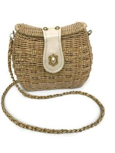 Vintage/Retro Heiress Gold Straw Wicker Shoulder Bag Purse Metal Chain by GenesisVintageShop on Etsy