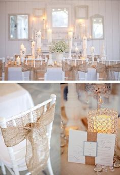 Use burlap on chairs for a shabby chic look!