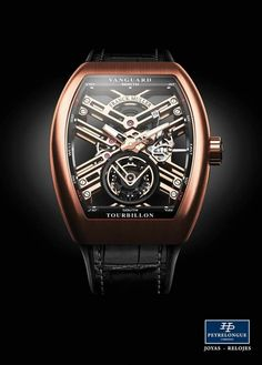 #TiempoPeyrelongue  Con las líneas arquitectónicas de su movimiento, el Vanguard ™ Tourbillon Skeleton es un reloj contemporáneo resueltamente. #FranckMuller