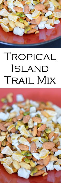Get those island flavors with this tropical trail mix. This healthy, crunchy snack is made with a combination of raw and salted nuts along with fruit! Easy Snacks, Yummy Snacks, Healthy Snacks, Healthy Eating, Yummy Food, Yummy Appetizers, Appetizer Recipes, Snack Recipes, Cajun Recipes