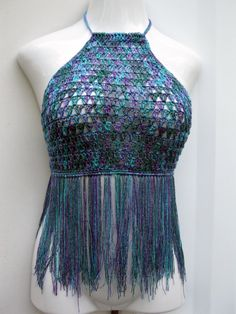 70's fashion Halter top with fringes by Elegantcrochets on Etsy, $52.00
