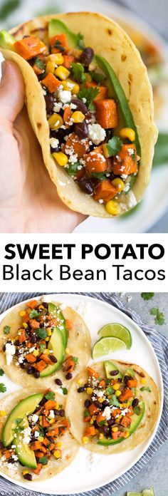 These healthy tacos have the best blend of flavors and no one will even miss the meat! Loaded with roasted sweet potatoes, hearty black beans and finished with bright fresh lime and honey. Easily one of the best vegetarian recipes! #healthy #vegetarian #tacos #blackbean #sweetpotato #mexican #recipe #food