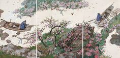 A Tale of the Fountain of the Peach Blossom Spring illustrated by Cai Gao (《桃花源的故事》,蔡皋绘) Peach Blossoms, Fountain, Chinese, Illustrations, Children, Book, Spring, Painting, Boys