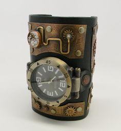 Steampunk - Steampunk cuff watch. Steampunk wrist watch. Biker watch. leather cuff watch. by slotzkin