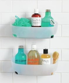 Bathroom Storage and Organizing Ideas - Command water proof bathroom caddies. They sell these at target and walmart.