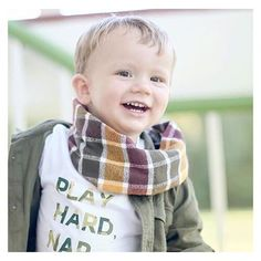 "A little throwback of the incredibly handsome Madden in our retired camo ""Play Hard, Nap Harder"" raglan & in our NEW •CIDER SNAP SCARF!• These scarves are on the site and super limited! Perfect for fall! Don't forget to snag yours! 🍃🍂 • • • • • • • #whereiwork #creativelifehappylife #handsandhustle #thenativecreative  #crafternoon #makesomething #creativelife #createeveryday #doitfortheprocess #wemakecollective #parenthood #mommy #mommylife #mom #momlife #motherhood #mother #wine…"