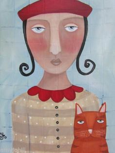 "Folk Art Deco Gypsy Lady Angel Cat Folk Art 12x16"" Painting Amy Jo Hill   eBay"