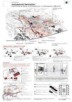 Architecture Collage, Architecture Graphics, Architecture Drawings, Architecture Portfolio, Project Presentation, Presentation Layout, Presentation Boards, Paris Saclay, Architecture Presentation Board