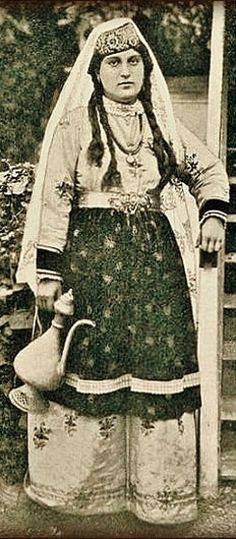 Tatar woman in traditional costume.  Crimea, 1904.