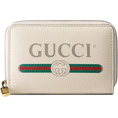 Gucci Print Leather Card Case ($495) ❤ liked on Polyvore featuring bags, wallets, accessories, wallets & small accessories, white, women, zip around wallet, print wallets, white wallet and pattern wallet