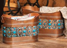 Turquoise Jeweled Containers - Set of 2 $169.95