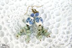 Chrysolite Beauty Earrings Blue Flower by JewelryShopbyPoStra