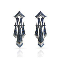 SAPPHIRE MODERN ART DECO SHINTO EARRINGS WITH DIAMONDS IN 18K WHITE GOLD