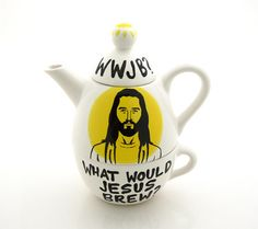 Jesus Teapot Tea for One What Would Jesus Brew  - Kitchen