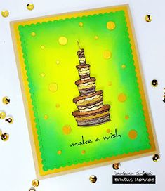 Cake Stamp Set with Embossing Powder Accents It's Your Birthday, Birthday Cards, Make A Wish, How To Make, Different Tones, Embossing Powder, Green Colors, Card Stock, Birthdays