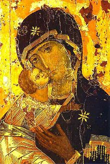 """The """"Theotokos of Vladimir"""" icon (12th century - In the late Comnenian period, emotion, formerly avoided, entered icon painting. The Theotokos of Vladimir is probably the most representative example of the new trend towards spirituality and emotion."""