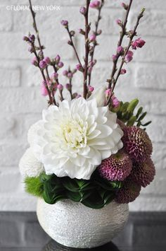 pretty flower arrangement pink and white