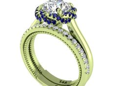 Green gold Engagement and wedding Rings set, Forever One Moissanite Engagement rings set, Blue sapphires and diamond set, Designed by Irina