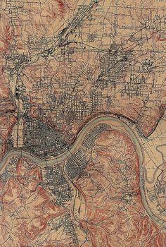 Cincinnati, Ohio and Covington, Kentucky - US Geological Survey 1914