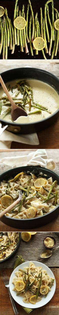 Creamy Vegan Lemon Asparagus Pasta! Bowtie pasta in a thick and creamy sauce with lemon-roasted asparagus! BUTTER-FREE and Dairy-Free! Ready in just 30 minutes! Perfect... delicious , easy and quick!!