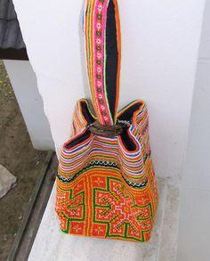 ORANGE Wristlet Clutch Vintage Fabric HMONG Hill by ThaiHandbags, $12.99