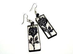 #drawing #earrings #handmade #black #rose #Plexi