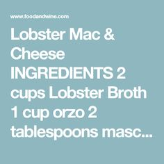 Macaroni and Cheese: Sweet Butter Braised Maine Lobster with Creamy ...