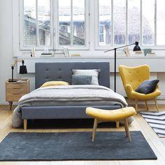 Schlafzimmer, grau - gelb