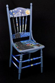 Redo for kids chairs painted with van gogh starry night