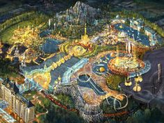 The Magical World of Russia has been touted as a major destination and resort theme park Fantasy Places, Fantasy World, Parking Plan, Theme Park Map, Planet Coaster, Walt Disney Imagineering, Historia Universal, Architecture Concept Drawings, Unusual Buildings